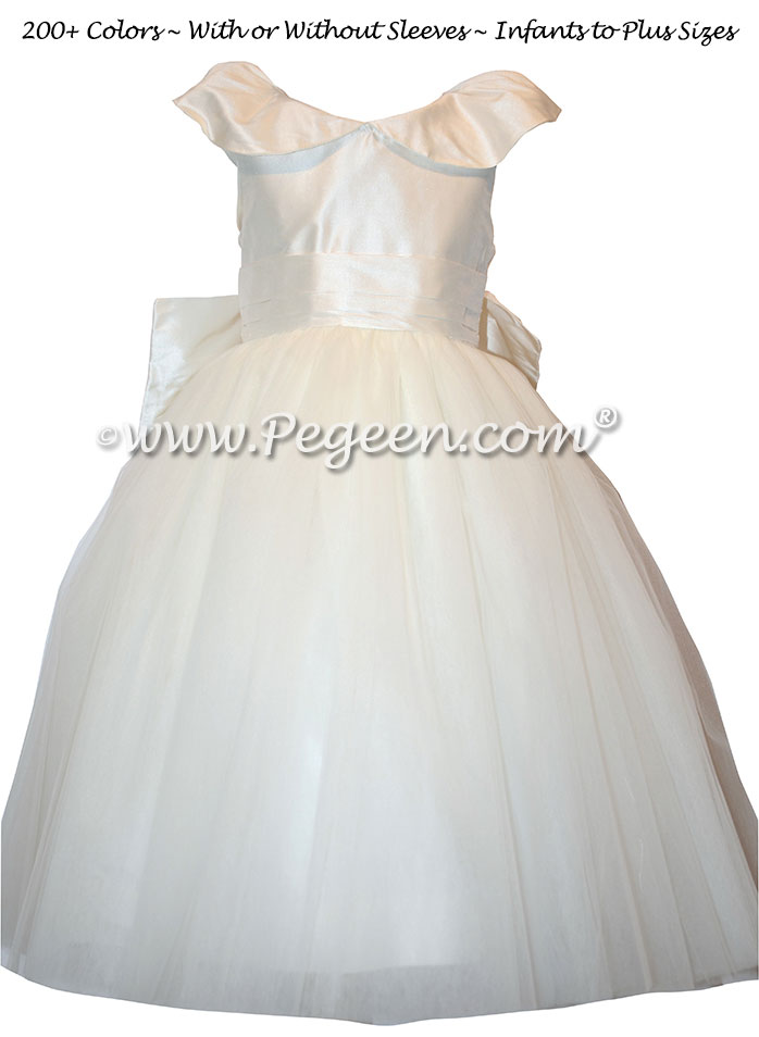Monogrammed First Holy Communion Dress with open collar
