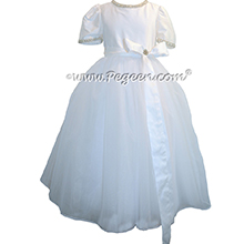 Antique White silk Organza and Tulle First Communion style dresses trimmed with pearls and rhinestones