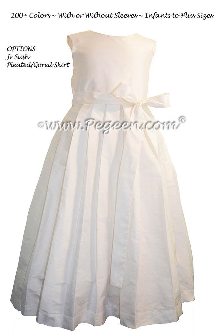 Pleated Skirt Antique White flower girl dresses by Pegeen