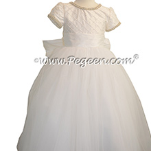 First Communion Dress with Cinderella Sash in Antique White Pintuck and Pearls with Rhinestone and Pearl Trim Style 993