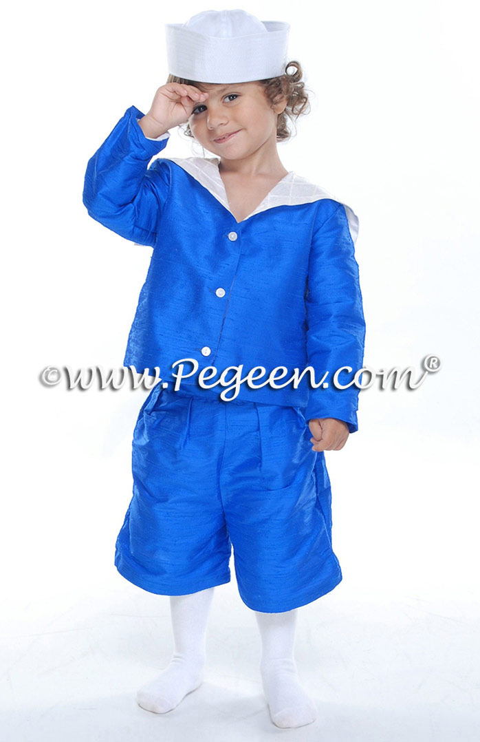 Royal Malibu Blue Silk Sailor Ring Bearer Suit by Pegeen - Style 240