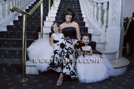 Black and white tulle flower girl dresses