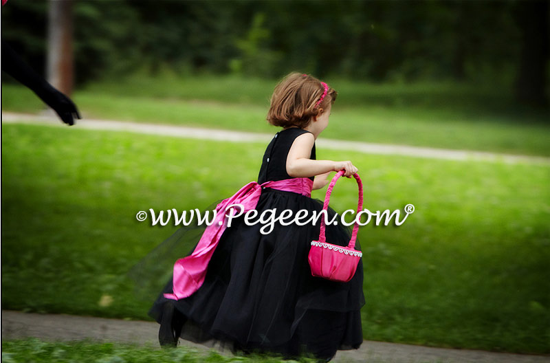 Black and hot pink tulle flower girl dresses Pegeen Couture Style 402