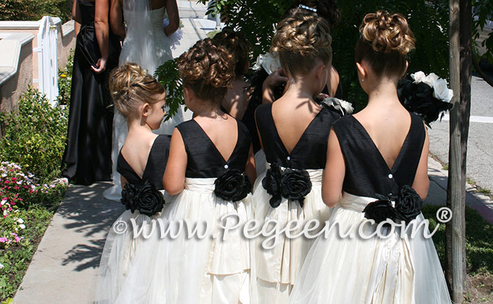 Pegeen Classic Custom Flower Girl Dress Style 313 in ivory and black