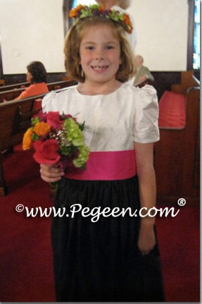 Black and Pink sorbet custom silk flower girl dresses Style 355
