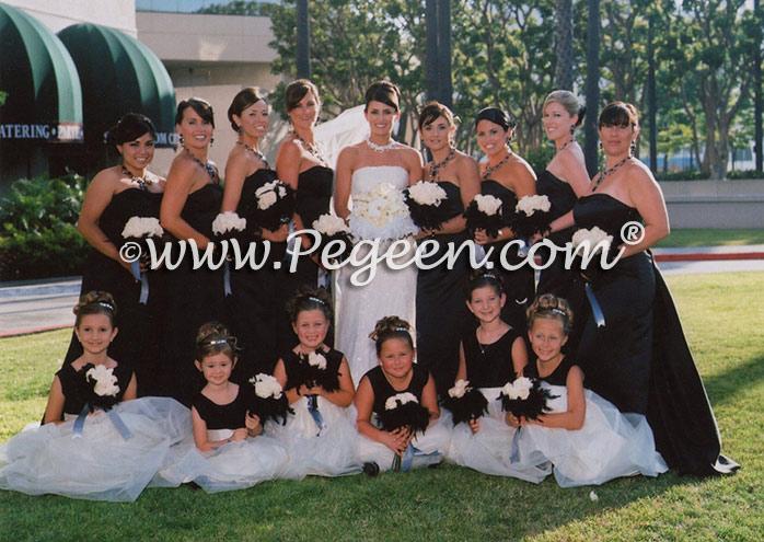 Black and white tulle flower girl dresses