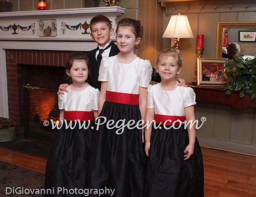 Cranberry and black custom silk flower girl dresses