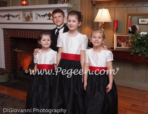 Cranberry and black custom silk flower girl dresses