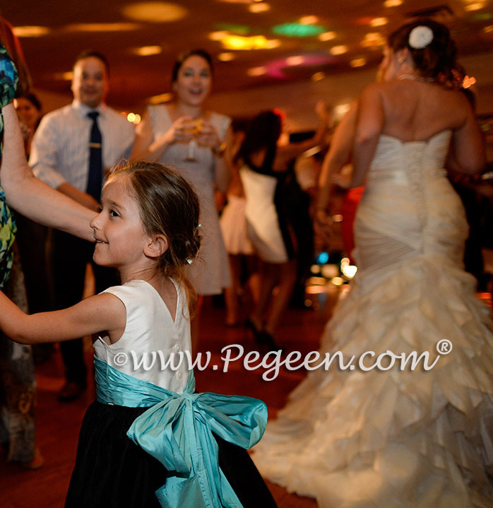 Custom Silk Flower Girl Dress in black, white and aqua blue