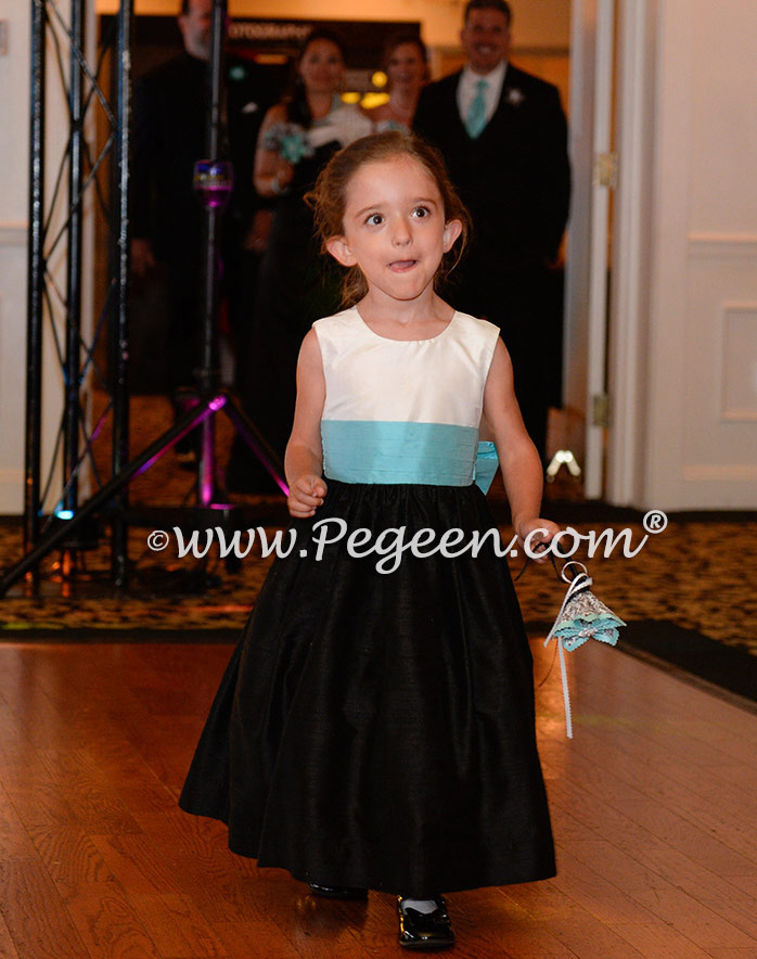 Black and white and tiffany blue custom silk flower girl dresses Pegeen Style 398