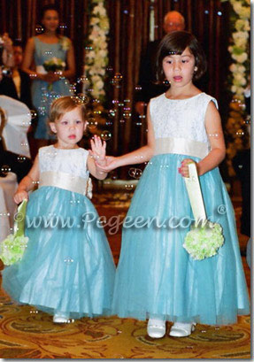 cloud blue and pink aloncon lace tulle flower girl dresses
