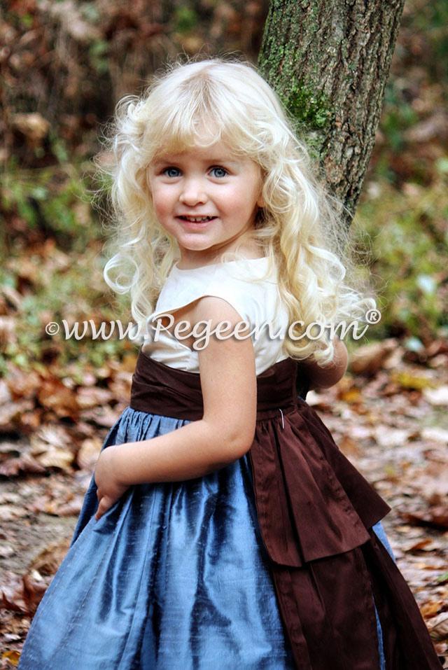 Arial Blue and Semi-Sweet Brown silk flower girl dress by Pegeen