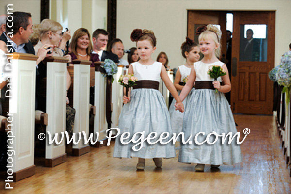 Semi-sweet brown and Caribbean Blue flower girl dresses with back roses on bustle