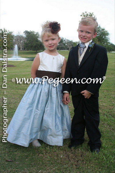 Denim blue and semi-sweet brown silk flower girl dress by Pegeen