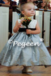 Denim Blue and Semi-Sweet Brown Flower Girl Dress style 383 by Pegeen