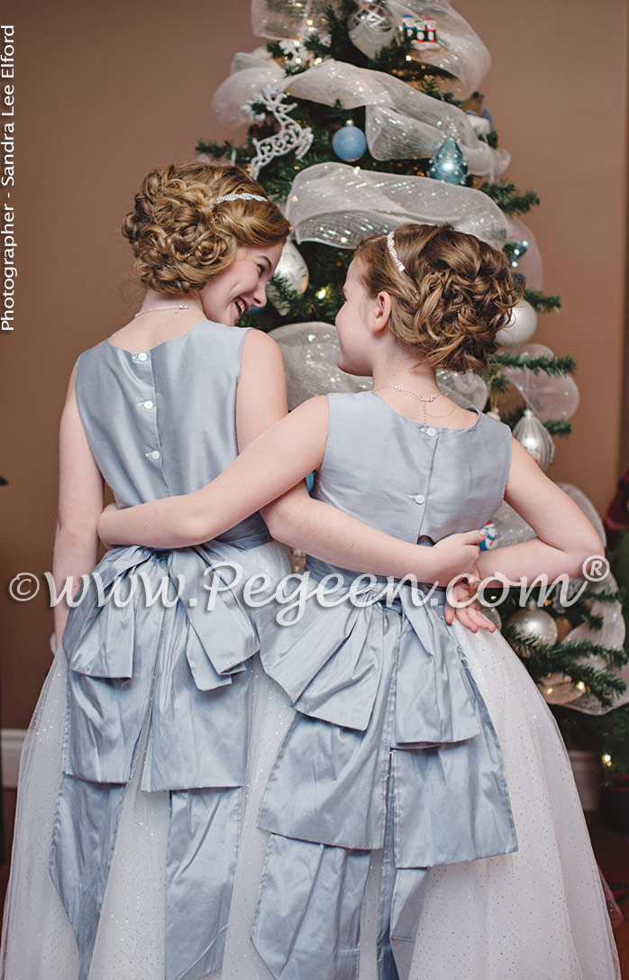 Custom Flower Girl Dresses Style 402 in powder blue silk with a Cinderella sash and glitter tulle in silver