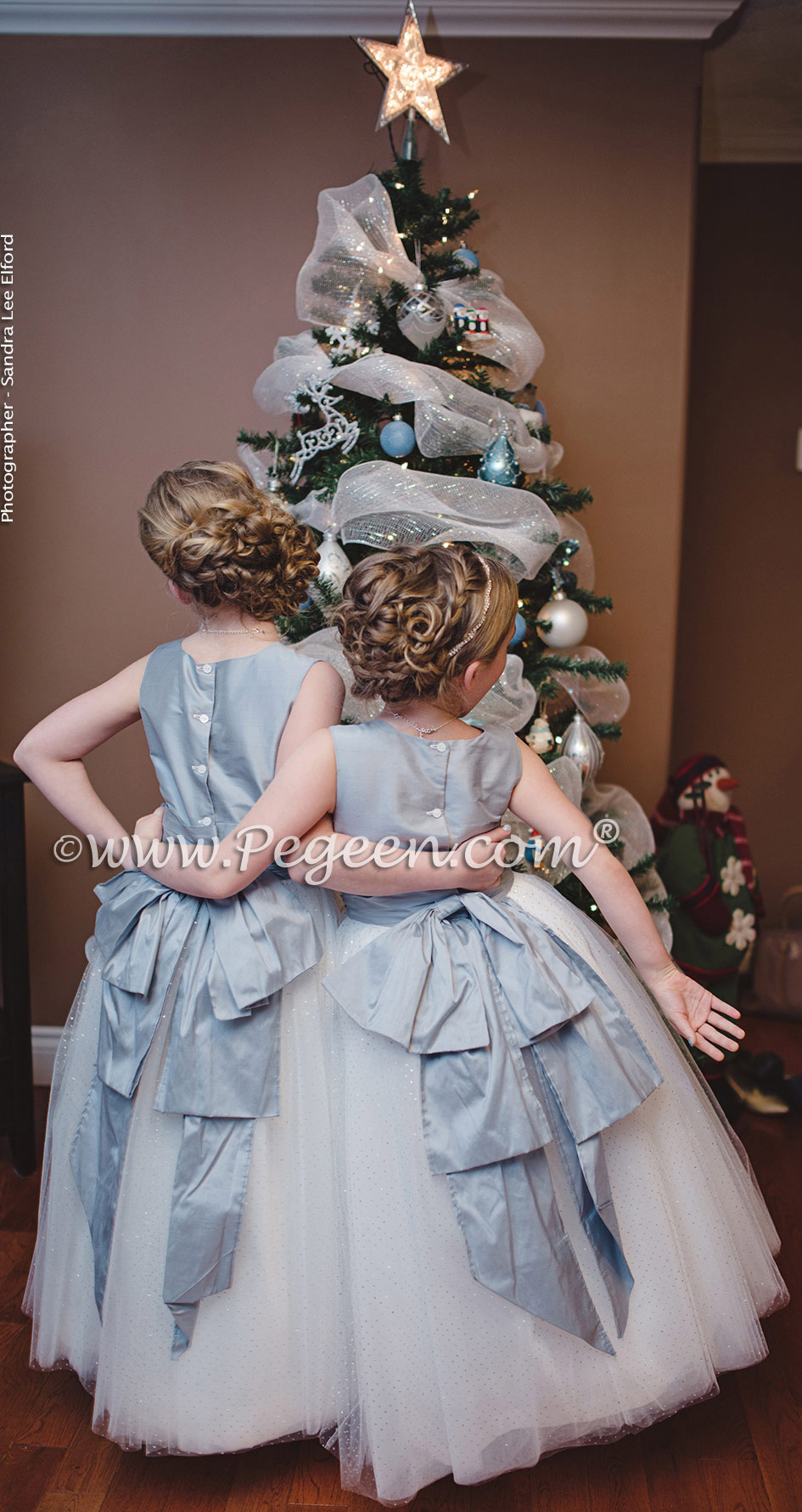 flower girl dresses in powder blue silk and glitter tulle in silver