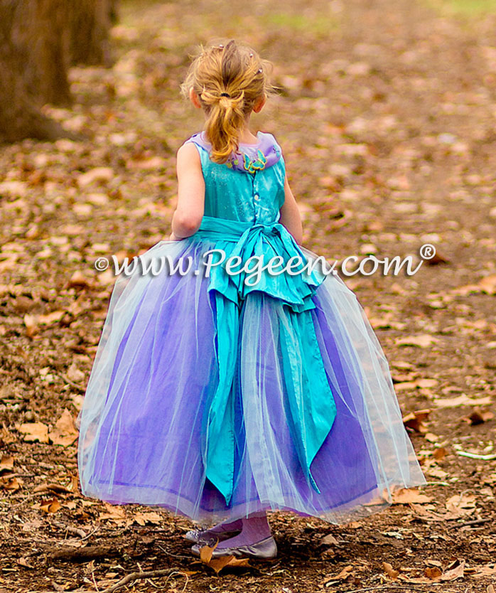 Cotillion or Couture Sleeping Beauty Princess Flower Girl Dress w/Tulle, Pearled Silk Trellis, and sparkle tulle with cinderella sash