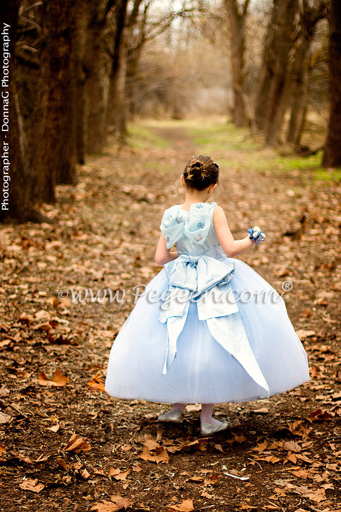 Cinderella Princess Flower Girl Dress w/Tulle, Pearled Silk Trellis, and sparkle tulle with cinderella sash