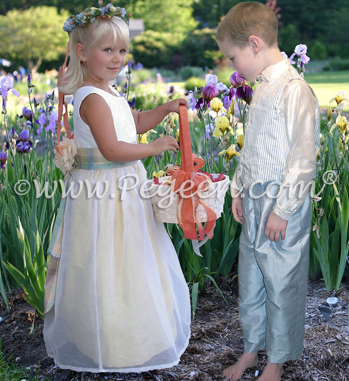 From Pegeen Classics - Girls Flower Girl Dress Style 313 with plaid sash and matching ringbearer suit