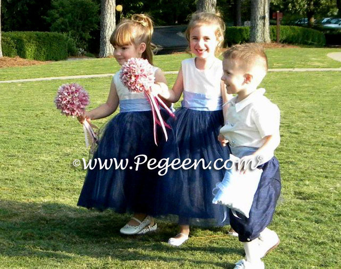 Bisque, Wisteria and navy blue flower tulle girl dress style 402 with Ring Bearer style 509