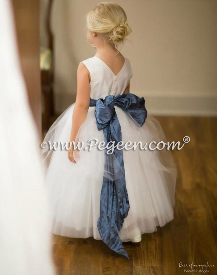 Antique White and Arial Blue Silk Flower Girl Dresses of the Month - Pegeen Couture Style 402