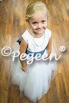 Flower Girl Dresses in of the Month for August 2015 in Antique White and Arial Blue