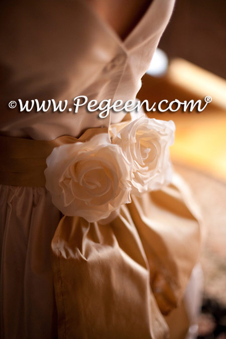 Custom Silk Flower girl dresses 383 in new ivory and pure gold silk