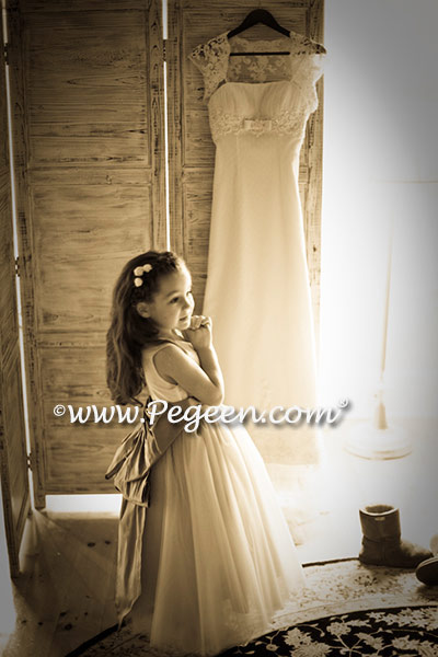 Flower girl dresses 402 in champagne tulle and deflt blue and new ivory silk