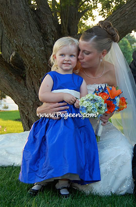 Flower Girl Dress in Malibu Blue and Antique White sash - Pegeen Classic 398