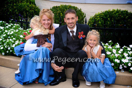 Flower Girl Dresses in New Ivory and Storm Blue with a Chocolate silk sash Style 345
