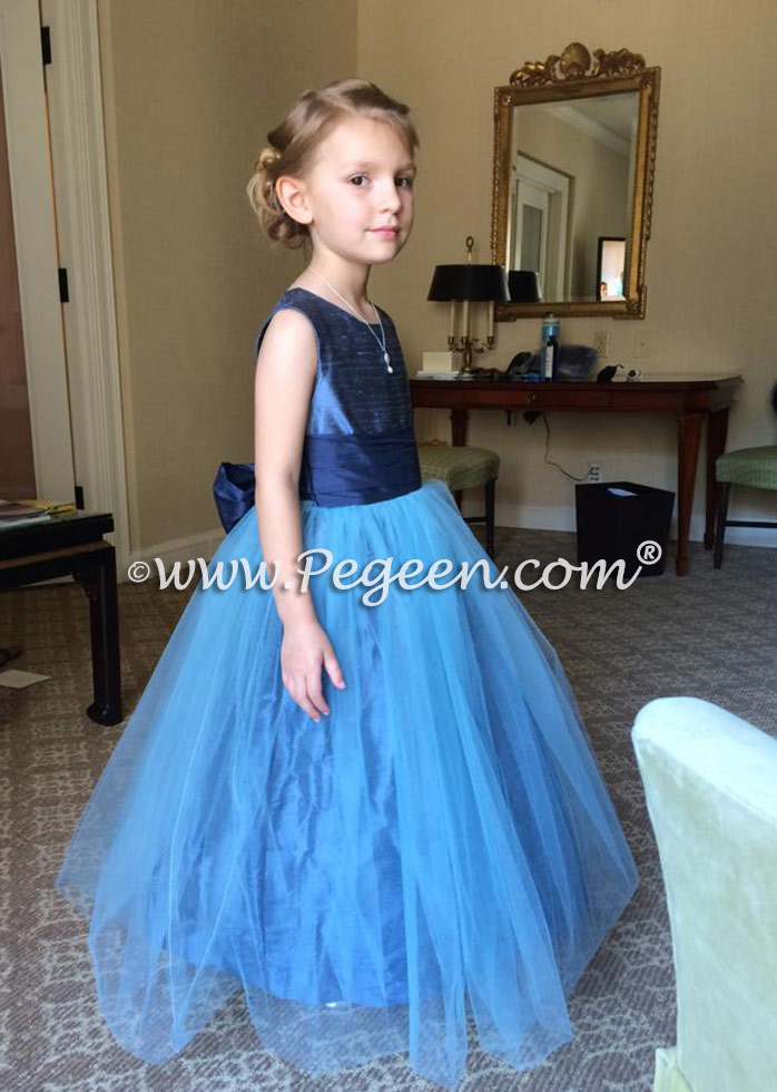 Style 356 flower girl dress with Arial Blue Bodice and Skirt and a Navy Blue Sash