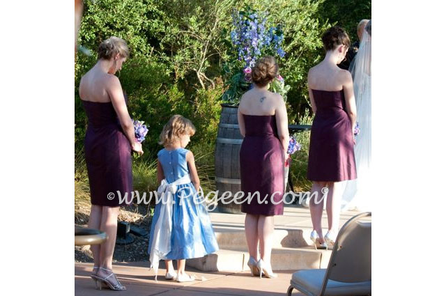 Wisteria and antique white silk flower girl dresses - Pegeen Classics Style 398