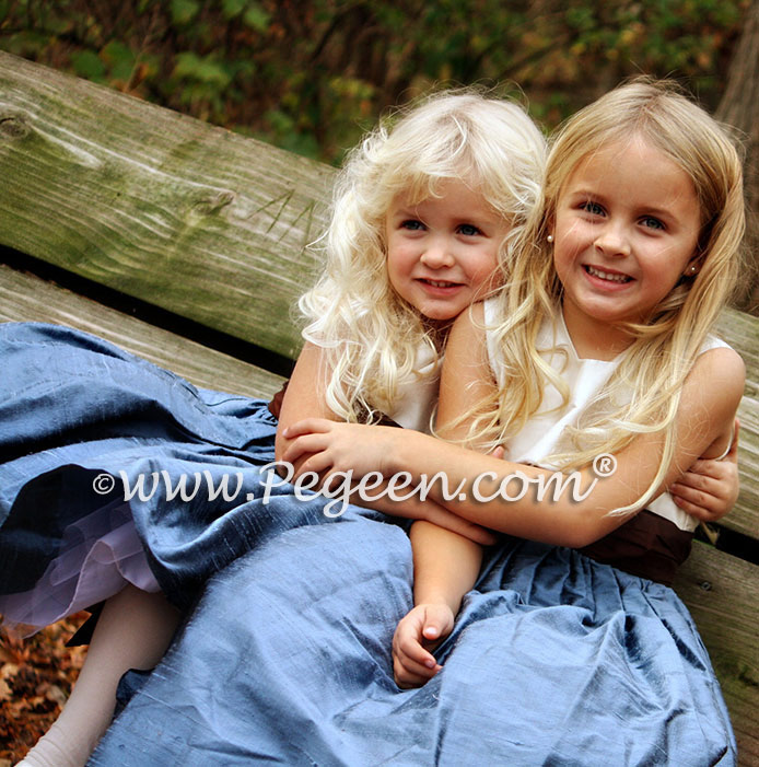 Storm Blue and Chocolate Brown Silk Flower Girl Dresses - Pegeen Classic Style 383