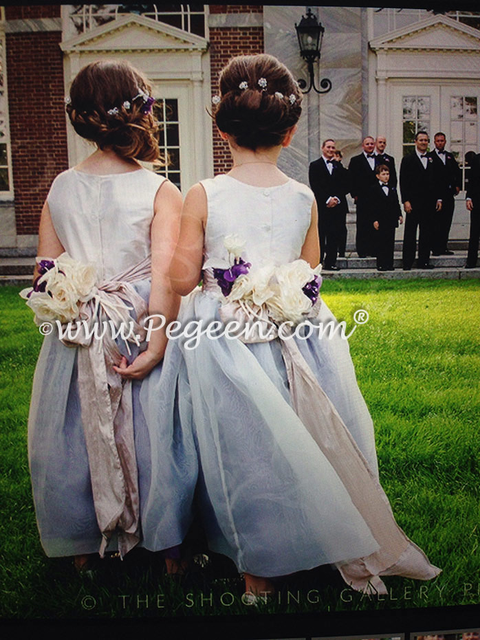 Toffee - Iris and New Ivory silk Custom Flower Girl Dresses by Pegeen
