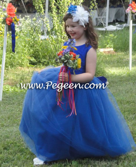 Malibu Blue ballerina style flower girl dress with layers and layers of tulle