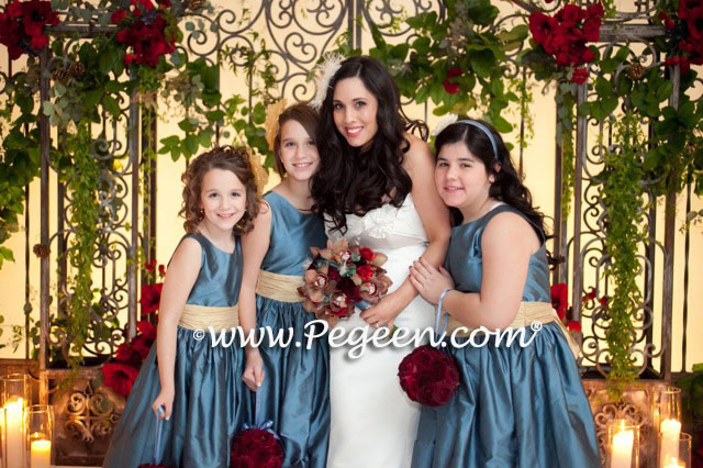 FLOWER GIRL DRESSES in YELLOW AND ARIAL BLUE - Pegeen Classic Style 388 for Jr. Bridesmaids