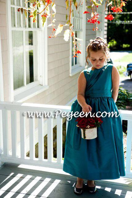 Blue Spruce Silk Custom Jr Bridesmaids Dresses - Pegeen Classic Style 318