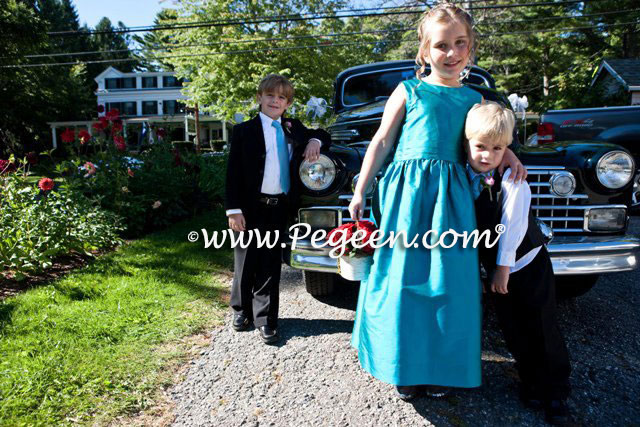 Pegeen Style 318 in Hazel Blue Silk flower girl dresses