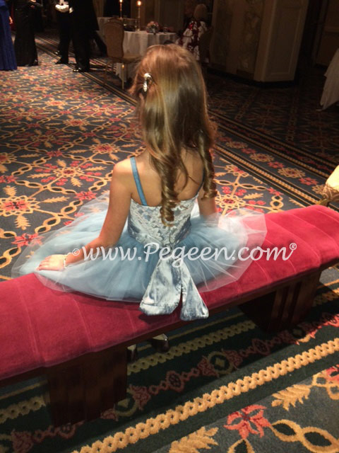 Silk Flower Girl Dress style 413 in tulle and aloncon lace in cadet blue worn for the New York Debutante Ball