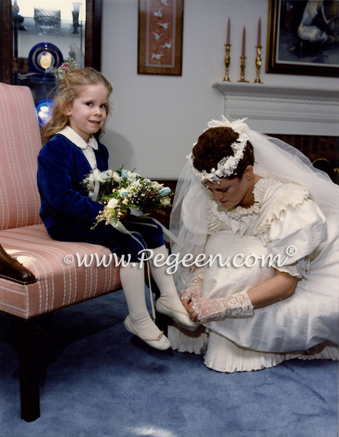 Wedding of the Month - Navy Plaid Silk with Matching Ringbearer in Velveteen