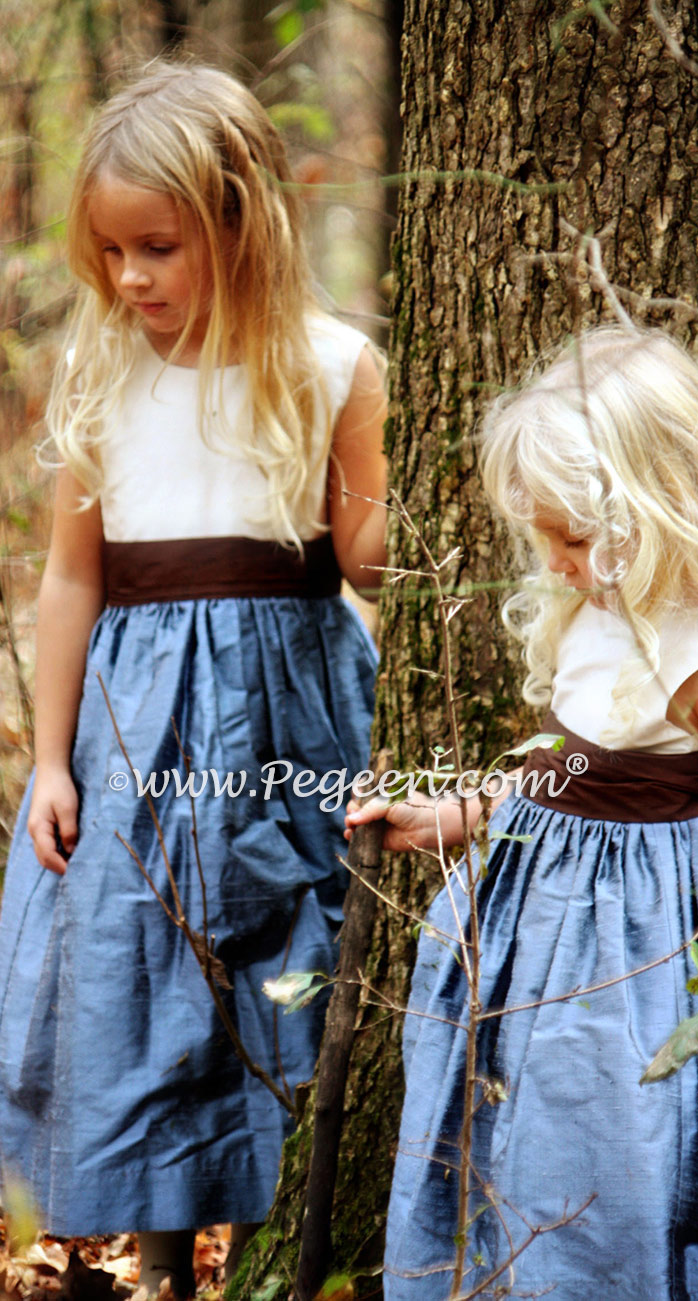 Arial Blue, Chocolate and Ivory Flower Girl Dress with Back Bustle