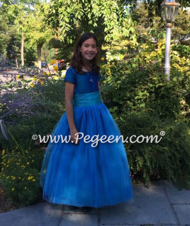 FLOWER GIRL DRESSES in Peacock Silk with turquoise sash and tulle skirt