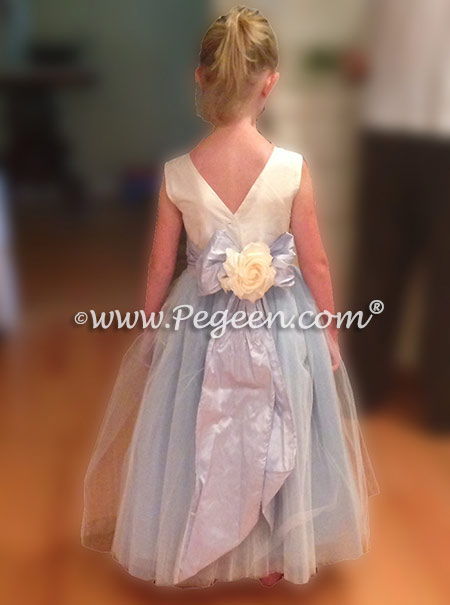 Flower Girl Dress Style 402 - in Baby Blue Tulle and Silk