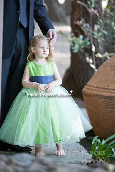 Apple Green and Navy silk and tulle from Pegeen Classics - Style 356