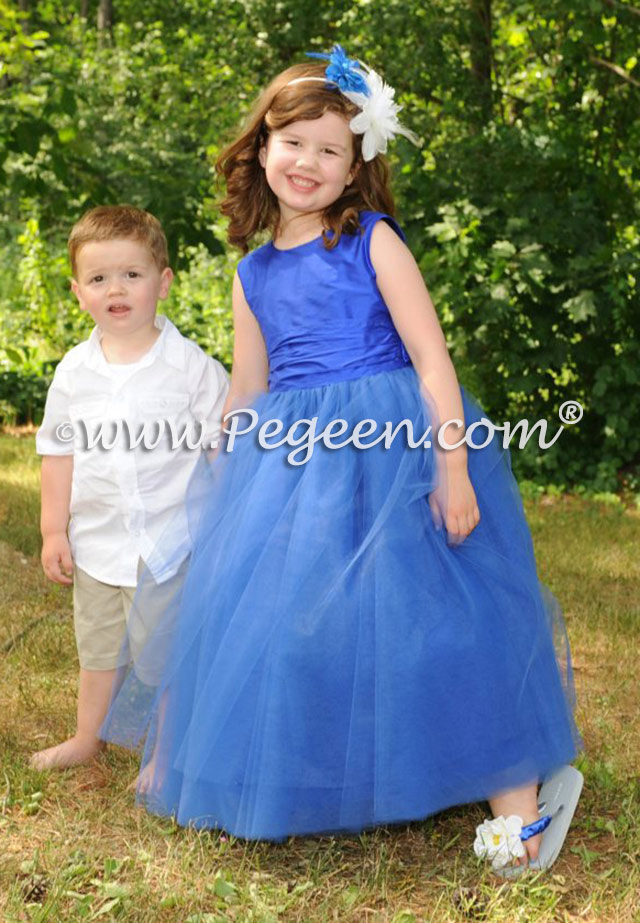 Sapphire blue silk with tulle flower girl dress Style 402