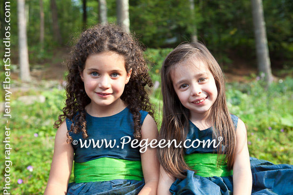 Flower Girl Dresses in Marine Blue (Navy) and Apple Green | Pegeen