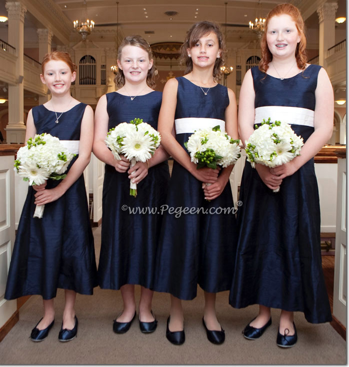 Navy silk junior bridesmaids dresses - Pegeen Style 320 in short length