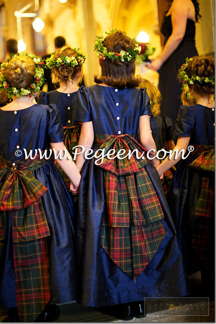 Navy silk and plaid flower girl dresses style 345 by Pegeen