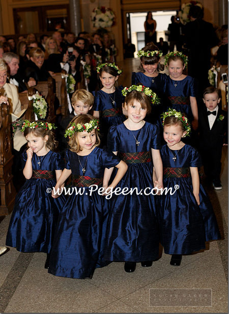 Navy and Christmas Plaid silk flower girl dresses style 345